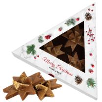 Karácsonyi csokoládé csillagok logózható dobozban