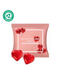 Szív alakú csoki logózható csomagolásban