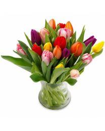 Színes tulipánok - vázával