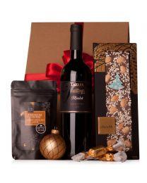 Karácsonyi céges ajándékcsomag borral és kávéval