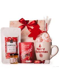 Karácsonyi ajándékcsomag cégeknek -habcsókkal, bögrével