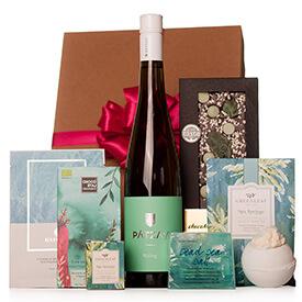 Női ajándékbox fehérborral